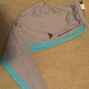 Grey & Teal Unisex Adidas Climacool Track Joggers